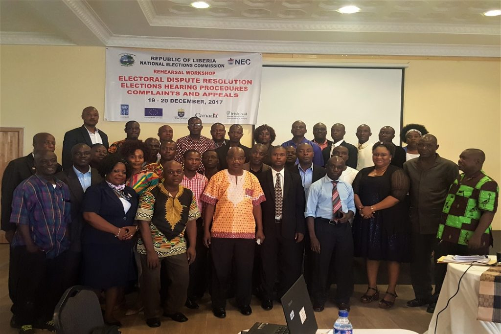 EC-UNPD JTF - Liberia organizes a two-day refresher training workshop for the NEC's Hearing Clerks and Hearing Officers