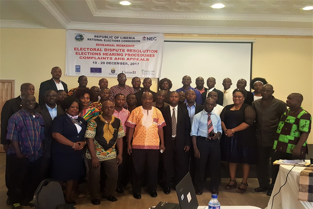 Liberia organizes a two-day refresher training workshop for the NEC's Hearing Clerks and Hearing Officers