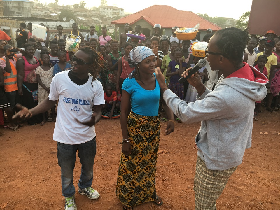 Street theatre supports women's voting rights in Sierra Leone